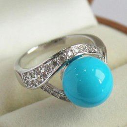 shipping free china ring pearl NZ - Jewelryr Jade Ring high quality lady's silver plated with crystal decorated &12mm blue shell pearl ring(#7 8 9 10) Free Shipping