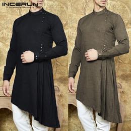 $enCountryForm.capitalKeyWord NZ - Men Shirt Indian Kurta Suit Solid Color Long Sleeve Cotton Casual Tops Men Islamic Muslim Arab Kaftan Long Shirt 3XL INCERUN #388822