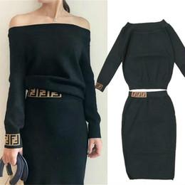 038ae48bb Diseñador 2019 Conjunto de 2 piezas Mujer primavera otoño para mujer ropa  nuevo Slash Cuello trajes de punto Falda S-L para mujer casual dama  streetwear ...