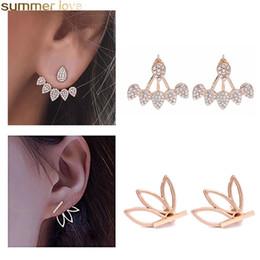 hoop earrings rhinestones 2019 - Hot Sale Lotus Stud Earrings Angel Wings Lotus Flower Earring Geometry Hoop Behind Earrings Crystal Simple Chic Stud Ear