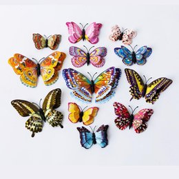 Discount fridge magnet packaging - Double Layer Butterfly Sticker Luminous Fridge Magnets 12PCS 3D Butterfly Design Decal Art Stickers Room Magnetic Home D