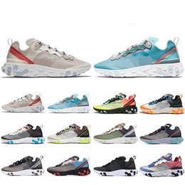 Cheaper Running Shoes Australia - Cheaper New React Element 87 running shoes for men women Sail Royal Tint Anthracite VOLT RACER PINK Mens Trainer sports sneakers 36-45