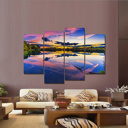 $enCountryForm.capitalKeyWord Australia - Big Size Dordic Setting Sunlandscape Picture 4 Panel Canvas Painting Print on Canvas Wall Art Painting for Home Decor with Frame