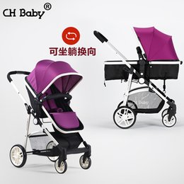 children portable strollers Canada - Chbaby High Landscape Super Light Portable Child Stroller Four Wheeled Baby pram for dolls baby could sit and lie 2 in 1