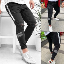 Wholesale american style jeans for men for sale – denim Mens Designer Jeans Fashion Street Style Washed Ripped Holes Pencil Pants Long Trousers Hommes Pantalones Designer Pants for Men