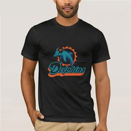 Discount pink dolphin clothing brand - Burrows Custom Dolphins Miami Men's Cotton Slim Fit T-shirt White New Brand-Clothing T Shirts Top Tee Cool Summer T