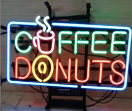 "coffee neon open sign Australia - 17""x14"" Coffee Donuts STORE OPEN BEER BAR PUB WALL DECOR LAMP ADVERTISING NEON LIGHT SIGN"