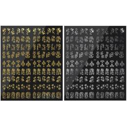 $enCountryForm.capitalKeyWord NZ - Bronzing decal nail art decoration 3D sticker gold nail paste water applique hybrid design metal flower sticker art