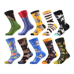 Men's Socks 2019 New Style Mens Fashion Printed Cartoon Animal Crocodile Shark Zebra Dog Robot Skateboard Colorful Socks Soft Comfortable Stockings