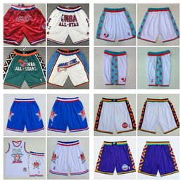 Wholesale unisex basketball shorts for sale – plus size MEN NBA All Star East Shorts White JUST DON Pocket Pants By Mitchell Ness S XXXL