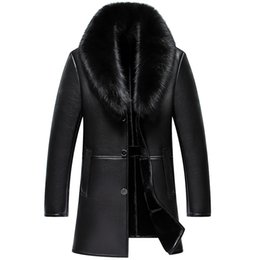 leather coats fur collars UK - Men Leather Jacket New Genuine Leather Winter Coats Male Fur Collar Casual Jackets Male Plus Velvet Jaqueta Masculino BLACK