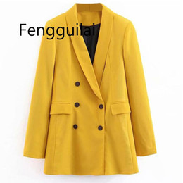 $enCountryForm.capitalKeyWord Australia - 2019 Women Double Breasted Long Blazers Office Lady Small Suit Jacket Ladies Leisure Yellow Blazer Loose Coat Streetwear