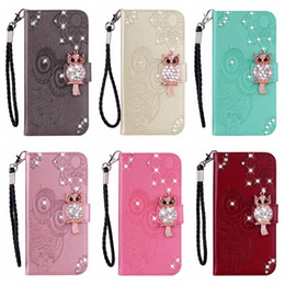 $enCountryForm.capitalKeyWord Australia - For Samsung Note 10 Pro A80 A60 A20E S10 5G Huawei P Smart Z Owl Leather Wallet Bling Diamond Case Imprint ID Card Slot Flower Flip Cover
