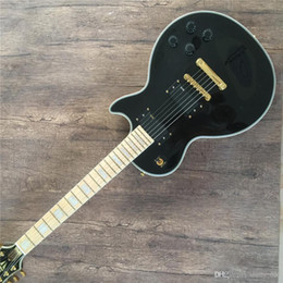 block shop Australia - Free shipping Custom Shop 1958 Reissue Dual P 90 Pickups Black Electric Guitar Yellow Body Binding, Mahogany Body, Block White MOP Inlay