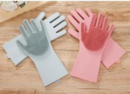 Pair Bedding Australia - 2pcs pair Magic Washing Brush Silicone Glove Resuable Household Scrubber Anti Scald Dishwashing Gloves Kitchen Bed Bathroom Cleaning Tools