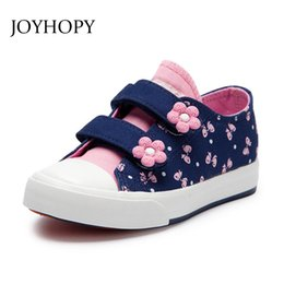 Canvas Prints Children Australia - New Kids Shoes For Girls Fashion Children Canvas Shoes Floral Cute Bow Printed Kids Sneakers Breathable Baby Girls Shoes Y19051303