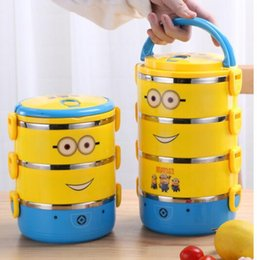 Wholesale barbecue sales for sale – custom Wholesales hot sales Stainless steel cartoon lunch box small yellow people insulated lunch box multi layer sealed lunch box
