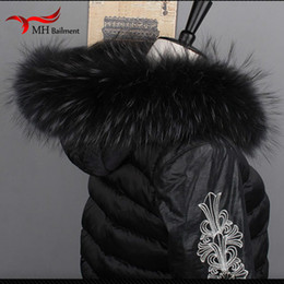 $enCountryForm.capitalKeyWord NZ - Women Fox Fur Collar Scarf Big Fur Collar Custom Made Hoodie Trim Genuine Raccoon Hood Trim Scarf Black Color