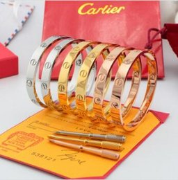 Rose gold bRacelets men online shopping - Classics designer CARTIER jewelry Rose gold stainless steel screw bangle bracelet with screwdriver and original box men and women love