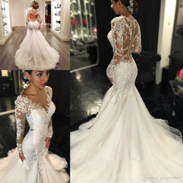 Chinese  berta country Mermaid Wedding Dresses 2019 Sheer Long Lace Appliques Sleeves Trumpet See Through Back Vintage Vestidos de Novia wedding gown manufacturers