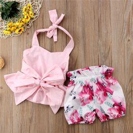 $enCountryForm.capitalKeyWord Australia - Baby Girl Clothes Summer Sleeveless Backless T-shirt + Shorts 2 Piece Set Bow Strap Tank Tops Floral Print Shorts Kids Clothing New A41803