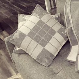 New wool letter H 65x65 cm square pillow cushion on Sale