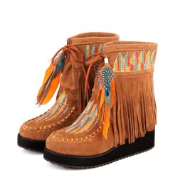 plush embroidery Australia - Fashion women's ankle boots national wind tassel feathers decorative embroidery women's boots casual ladies booties wholesale