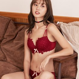 afe0d8f75790 New product explosion color popular Japanese lace embroidery underwear no  steel ring gathered bra set girl