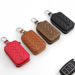 keychain chevrolet Canada - Leather Car Key Bags Key Case Genuine Wallet Key Chain Protection Shell Case Black Red Brown Coffen Keychain Auto Accessories