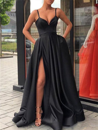 Silver Black Red Australia - Split Black Satin Prom Dresses with Pockets 2019 Spaghetti Straps Elegant Long Evening Party Gowns Wine Red Women Formal Dress
