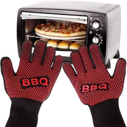 microwave finger slips 2019 - 500 Celsius Heat Resistant Gloves Insulated Silicone Gloves for Microwave oven hot pot BBQ Grilling Mitts Five Fingers A