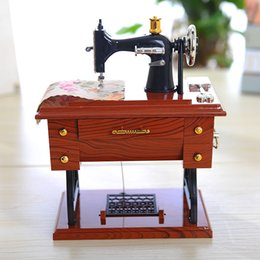 Classical mini sewing machine music box furniture music model box plastic decoration couple gift birthday holiday gift on Sale