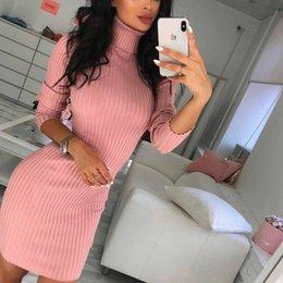 $enCountryForm.capitalKeyWord Australia - New 2019 Women Winter Autumn Warm Turtleneck Knit Casual Long Sleeve Sweater Mini Dress #395292