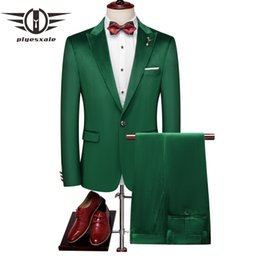 $enCountryForm.capitalKeyWord Australia - Plyesxale Green Men's Suit Wedding Male Slim Fit Velvet Suit For Men 2 Pcs High Quality Plus Size Latest Coat Pant Designs Q676