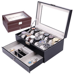 gift pack watch NZ - Watch Box PU Leather 12 Slots Double Layer Jewelry Box Holder Glasses Storage Case Gift Packing Box