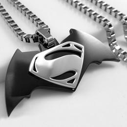 $enCountryForm.capitalKeyWord Australia - NEW MEN Stainless Steel Batman vs Superman New Film Logo Pendent w  Box Necklace Wholesale order 100set DHL free ship