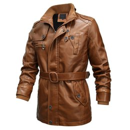 6xl trench coat men Australia - New Fashion Motorcycle Leather Jacket Men Trench Coat Top quality Thick PU Leather Jacket Male Casual Long Jackets 6XL
