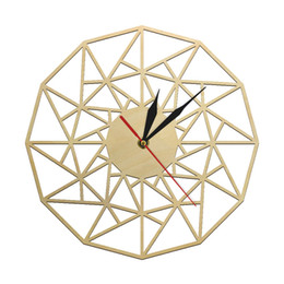wooden art decor 2020 - Scandinavian Silent Quartz Wall Clock Geometric Wooden Design Laser Cut Triangles Clock Minimalist Modern Home Decor Wal