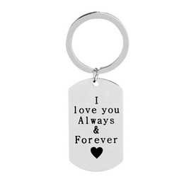 i love couples cartoons Australia - I Love You Always And Forever Engraved Heart Couple Gift Keychain Fashion Trendy Women Men Pendant Keyrings Jewelry Keychains