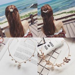 hair clip holders wholesale 2019 - Ruoshui Woman Elegant Hairband Pearl Crystal Alloy Headband Back Holder Hair Accessories Sweet Hairpins Girls Clips Head