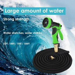 hose sets NZ - 25FT-100FT Garden Hose Expandable Magic Water Pipe Flexible Water Hoses Pipe With Spray Gun To Watering Car Wash Gun Set