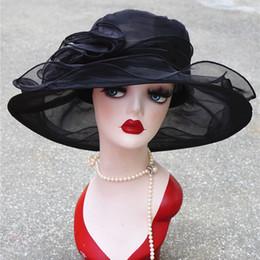 Hats For Wedding Black Australia - Summer Kentucky Derby Wide Brim Sun Wedding Church Sea Beach Hats For Women Floppy Ladies Hat C19041001