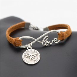 $enCountryForm.capitalKeyWord Australia - Infinity Love Ancient Egypt Totem Round Eyes of Horus Pendants Jewelry Cute Brown Leather Suede Rope Charm Bracelets & Bangles For Women Men