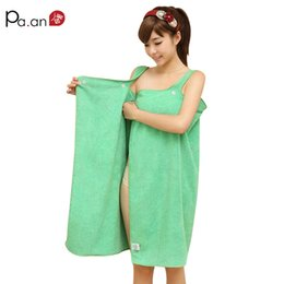 young girls skirts NZ - Green Microfiber Beach Towel Wearable Small Bath Towels 138x80cm Soft Button Wrap Skirt for Young Girl Women Absorbent Bath Gown