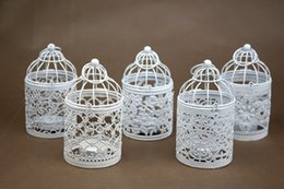 Wholesale Creative mental birdcage candle holders vintage Pastoral candle stick holder Iron Aromatherapy candlestick holder for wedding home decors