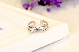 $enCountryForm.capitalKeyWord Australia - Fashion Jewelry Brass ring two circle 1 setting middle zircon Imitation Rhodium plated for woman opening adjust circle size
