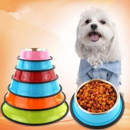 Feeding Products Australia - Pet Products Eco-freindly Color Spray Paint Stainless Steel Dog And Cat Bowl Non-slip Solid Pet Feed Bowl