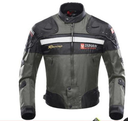 Nylon Gear Sets Australia - WHOLESALE DUHAN Windproof Motorcycle Racing coat Protective Gear Armor Motorcycle Jacket Motorcycle Pants Hip Protector Moto Clothing Set