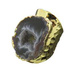 agate geode slices wholesale UK - wholesale Bohemian Style Silver&Golden Plated Irregular Brazil Agates Geode Slice Druzy Edged Rings