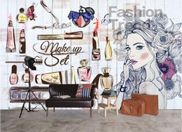 decorative country painting NZ - Personality wallpaper nail shop beauty shop hand painted girl clothing shop backdrop decorative painting 3d wallpaper